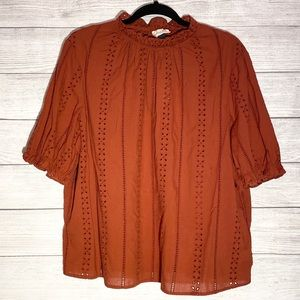 NEW Universal Thread Rust Eyelet Lace Top
